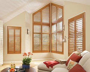 Real Wood Plantation Shutters Living Room
