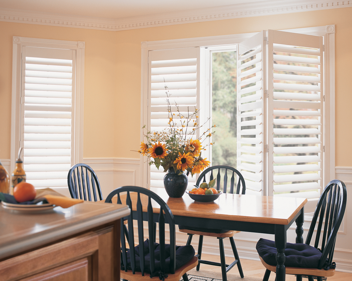 Palm Beach™ Polysatin Shutters With Bi-Fold Track System